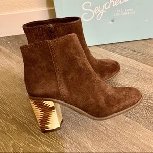 Brown Chocolate Suede Block Heel Ankle Boots
